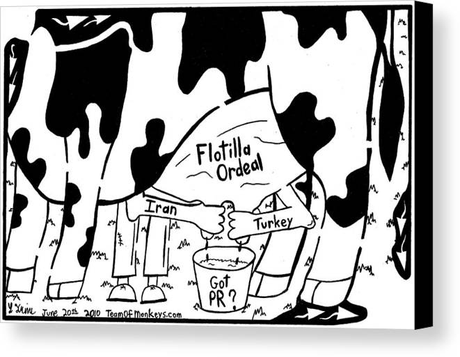 Flotilla Canvas Print featuring the drawing Milking The Flotilla For All Its Worth By Yonatan Frimer by Yonatan Frimer Maze Artist