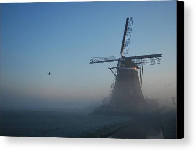 Dawn Canvas Print featuring the photograph Mill At Dawn by Hans Kool