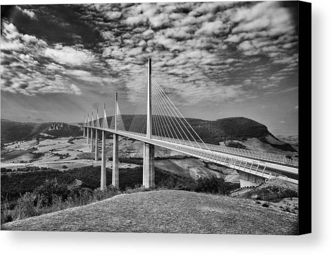 Millau Canvas Print featuring the photograph Millau Bridge France by Chris Pickett