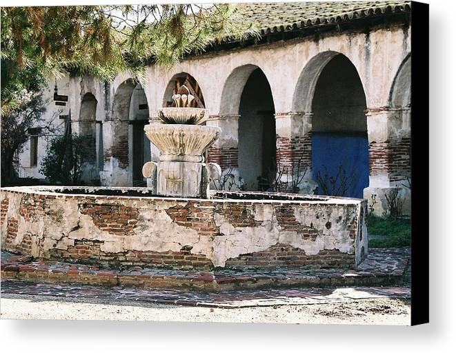 Landscape Canvas Print featuring the photograph Mission Fountain by Edward Wolverton