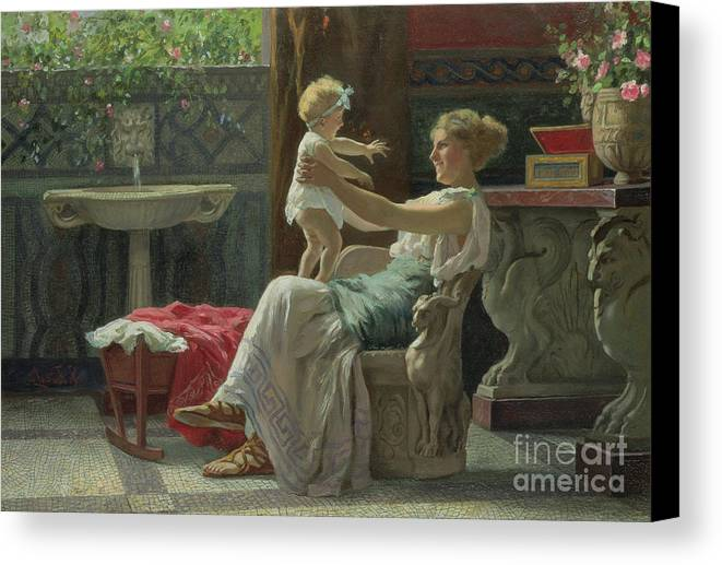 Baby; Roman; Fountain; Interior; Classicising; Classical; Antique; Scene; Mother; Child; Cradle; Maternal; Maternity; Love; Family; Smile; Laughing; Playing; Ribbon Canvas Print featuring the painting Mother's Darling by Zocchi Guglielmo