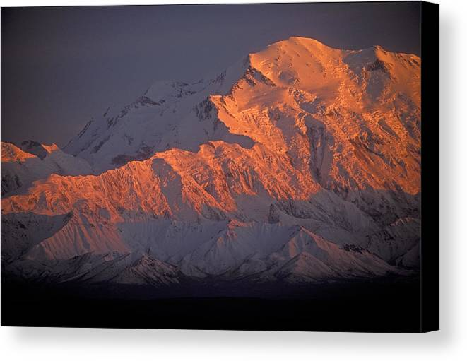 Denali National Park Canvas Print featuring the photograph Mt. Mckinley Sunset by Sandra Bronstein