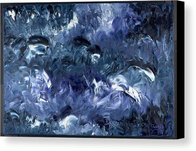 Abstract Canvas Print featuring the painting Nage Avec Les Dauphins by Dominique Boutaud