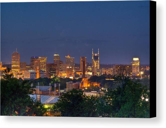 Nashville Canvas Print featuring the photograph Nashville By Night 2 by Douglas Barnett