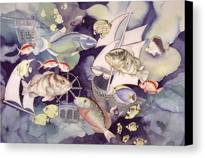 Sealife Canvas Print featuring the painting Nautical Players by Liduine Bekman