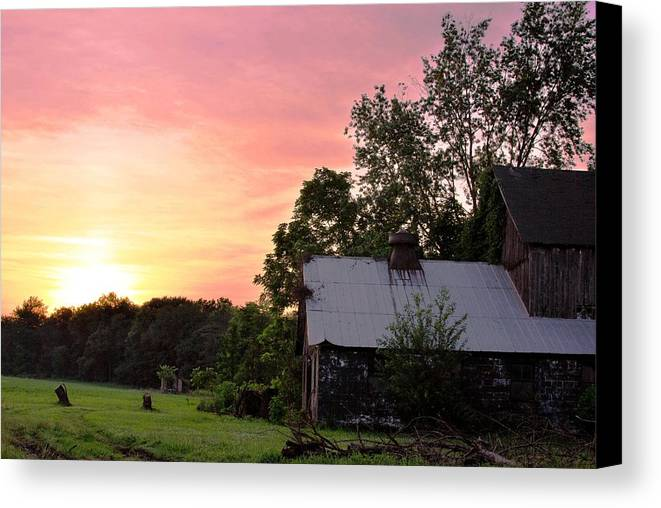 Country Canvas Print featuring the photograph New Jersey Barn Sunset by Matt Harang