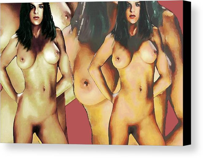 Original Canvas Print featuring the painting Nude Female Portrait Sara Standing2 by G Linsenmayer