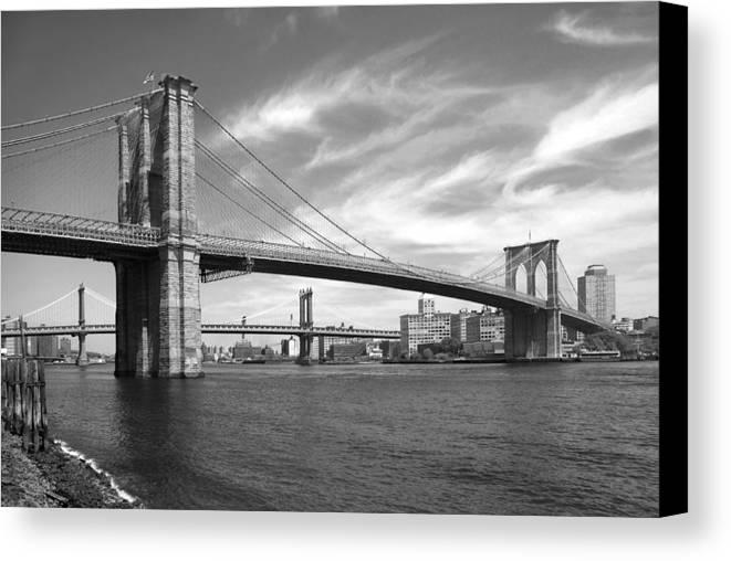 Bridge Canvas Print featuring the photograph Nyc Brooklyn Bridge by Mike McGlothlen