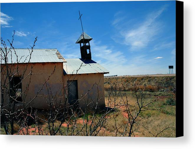 Route 66 Canvas Print featuring the photograph Old Chapel On Route 66 In Newkirk Nm by Susanne Van Hulst