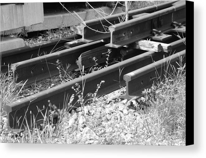 Black And White Canvas Print featuring the photograph Old Rails by Rob Hans