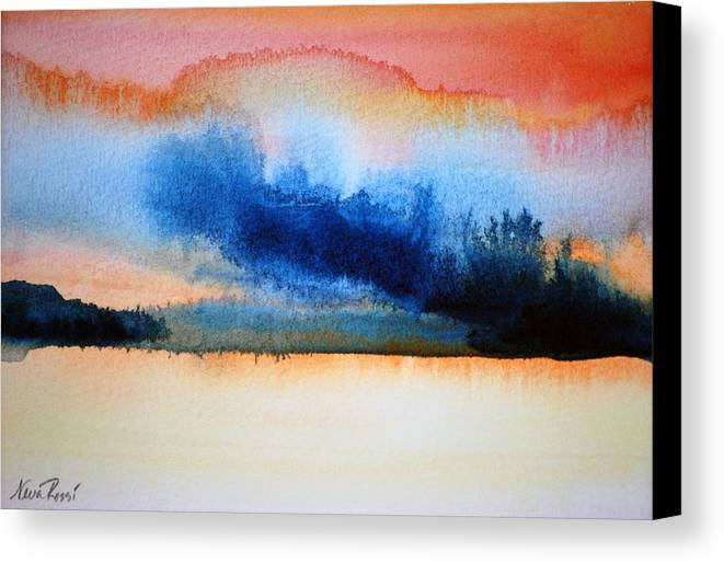 Landscape Canvas Print featuring the painting Orange Solitude by Neva Rossi