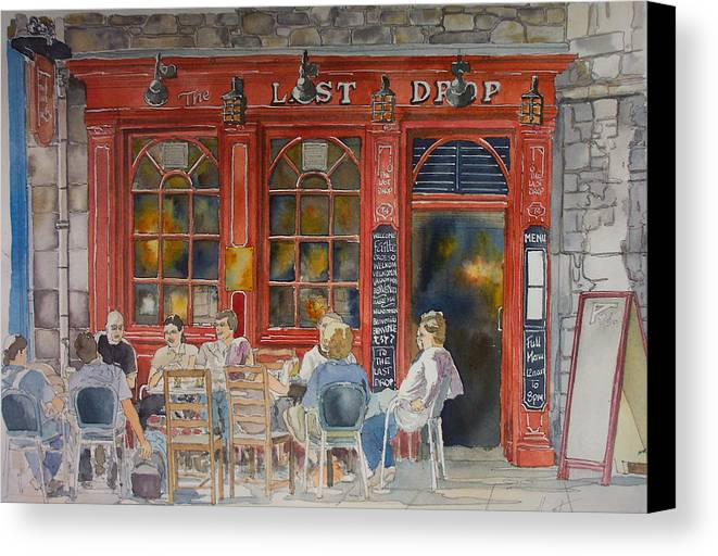 Pub Canvas Print featuring the painting Out For A Pint by Victoria Heryet