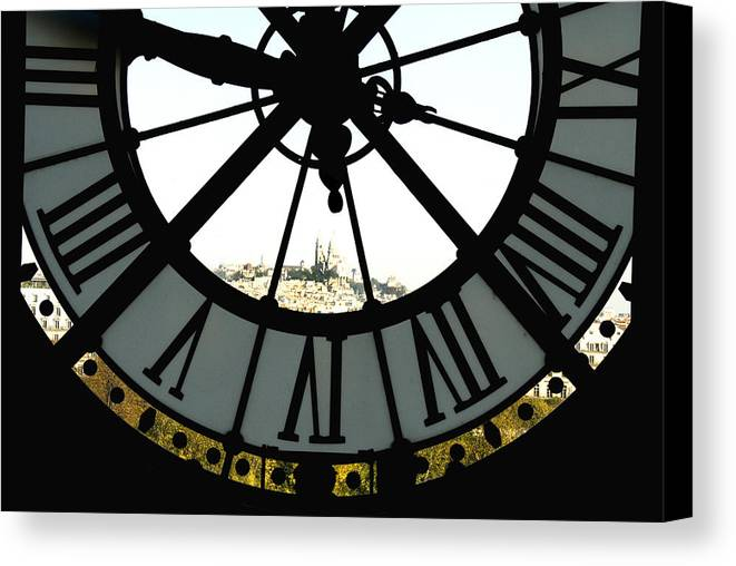 Clock Canvas Print featuring the photograph Paris Through The Clock by Charles Ridgway