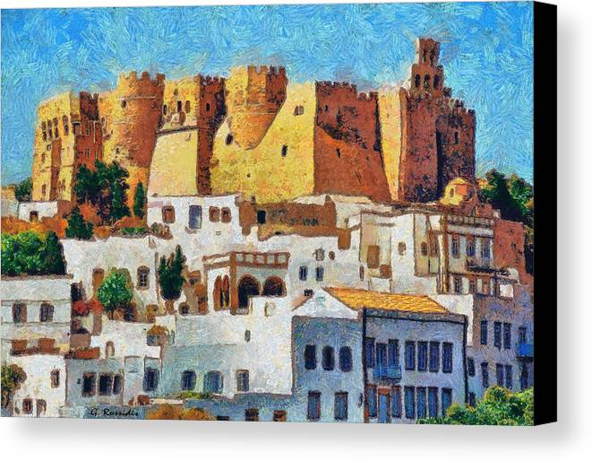 Rossidis Canvas Print featuring the painting Patmos by George Rossidis