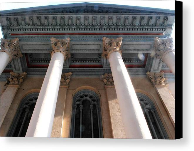 City Canvas Print featuring the photograph Philadelphia Classical Pillars - Looking Up by Matt Harang