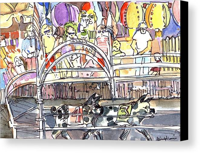 Pig Canvas Print featuring the painting Pig Races by Mindy Newman