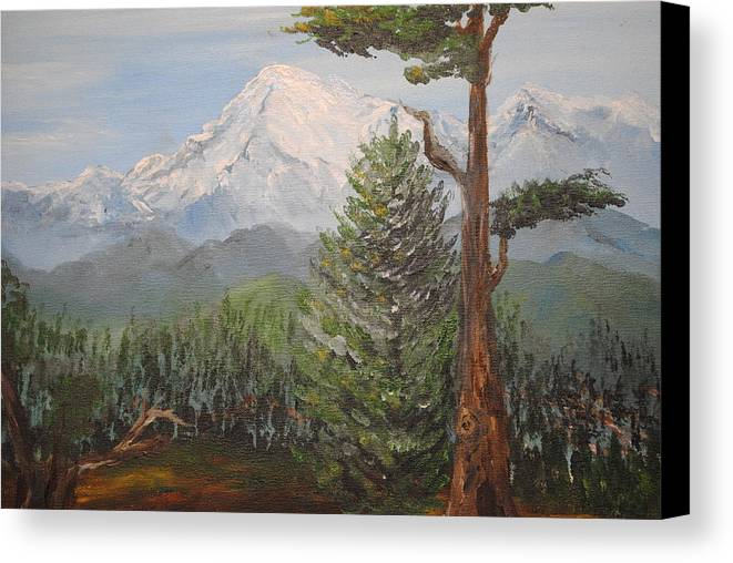 Landscape Canvas Print featuring the painting Pike's Peak Colorado by Mona McClave Dunson