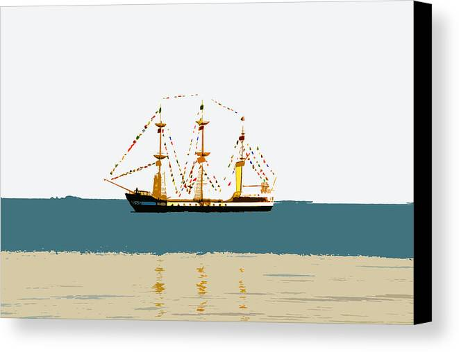 Pirate Ship Canvas Print featuring the painting Pirate Ship On The Horizon by David Lee Thompson