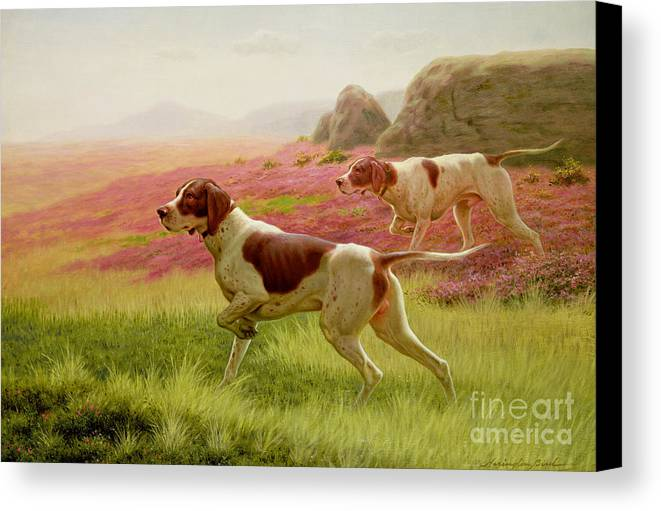 Hunting Canvas Print featuring the painting Pointers In A Landscape by Harrington Bird