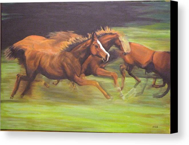 Horse Canvas Print featuring the painting Racing Horses by Srilata Ranganathan