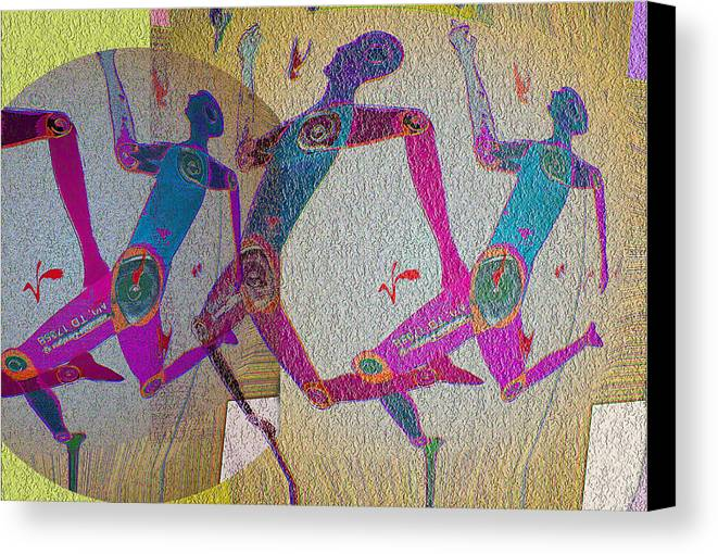 Human Composition Canvas Print featuring the digital art Racing by Noredin Morgan