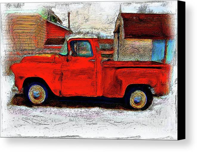 Red Farm Truck Canvas Print / Canvas Art by Anthony Djordjevic