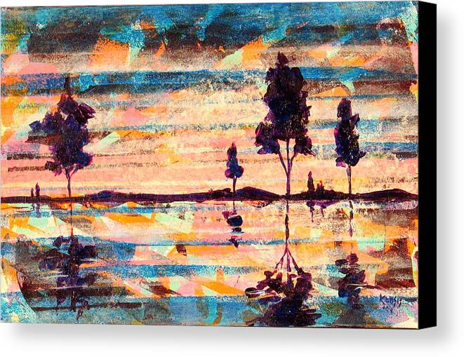 Water Canvas Print featuring the painting Reflections by Rollin Kocsis