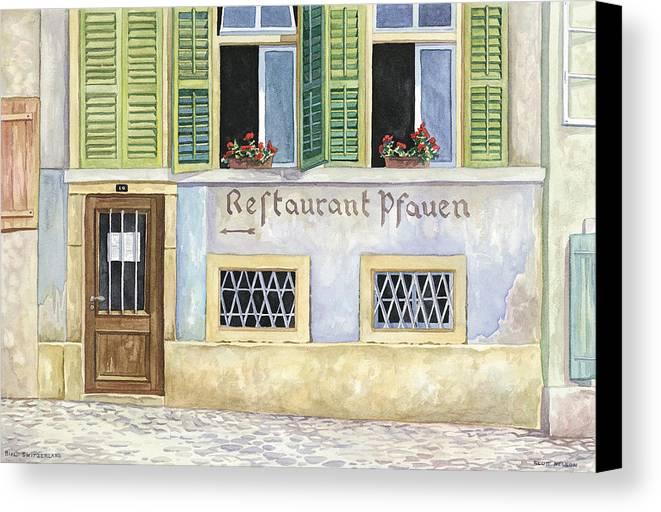 Restaurant Canvas Print featuring the painting Restaurant Pfauen by Scott Nelson