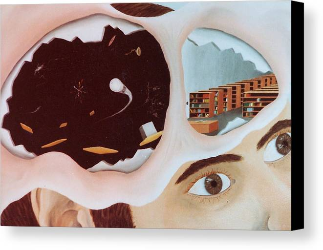 Surrealism Canvas Print featuring the painting Revealing The Consicous And Subconsicous by Steven Welch
