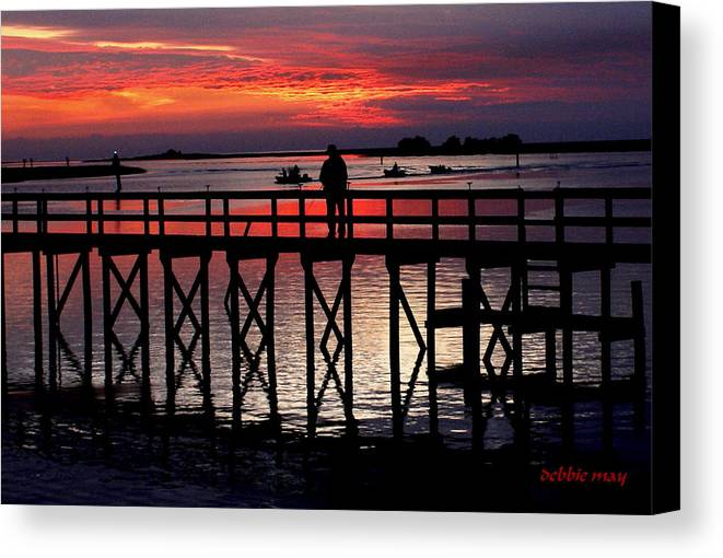 Sunset Canvas Print featuring the photograph Right On Red When Returning-3 by Debbie May