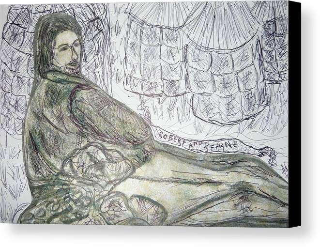 Gothic Romantic Hero From Poem Man Pre Raphaelite William Morris Victorian Art Canvas Print featuring the drawing Robert From Poem Haystacks In The Flood by Adrianne Wood