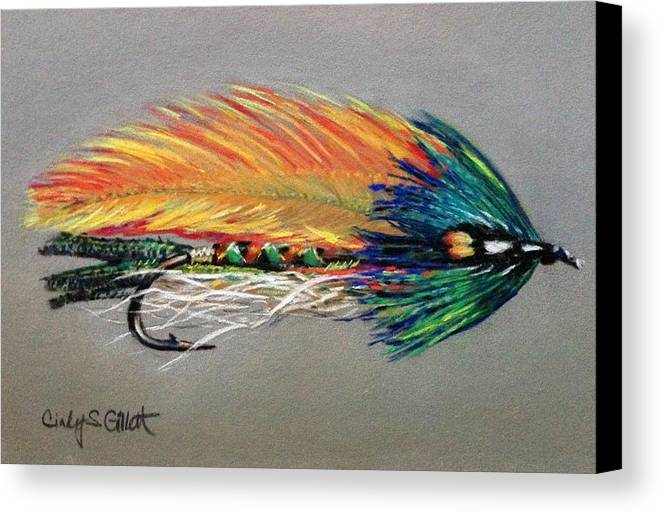 Still Life Canvas Print featuring the painting Rock Island Featherwing Streamer by Cindy Gillett