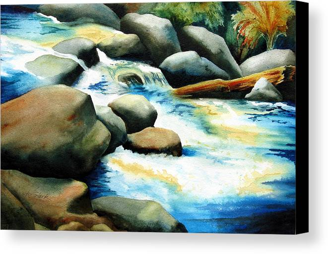 Landscape Canvas Print featuring the painting Rocky River Run by Karen Stark