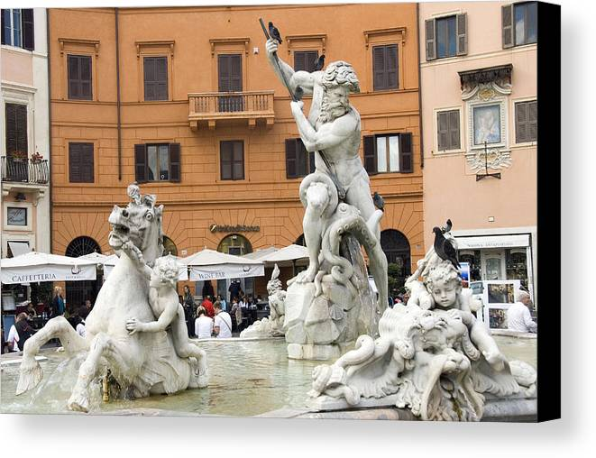 Rome Canvas Print featuring the photograph Roman Fountain by Charles Ridgway