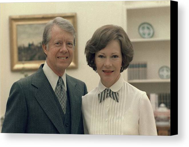 History Canvas Print featuring the photograph Rosalynn Carter And Jimmy Carter by Everett