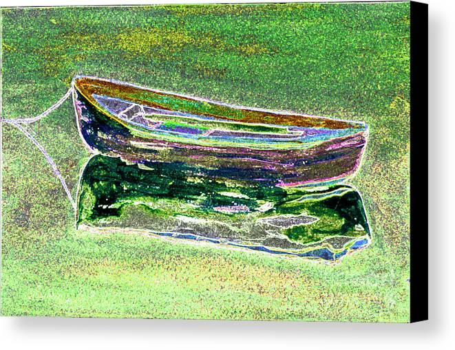 Rowboat Canvas Print featuring the digital art Rowboat Fluorescence 2 by Peter Paul Lividini