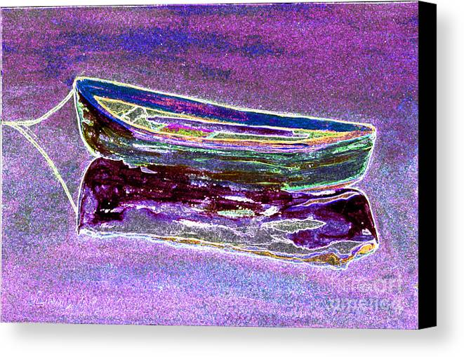 Rowboat Canvas Print featuring the digital art Rowboat Fluorescence 3 by Peter Paul Lividini