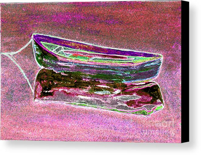 Boat Canvas Print featuring the digital art Rowboat Fluorescence 4 by Peter Paul Lividini