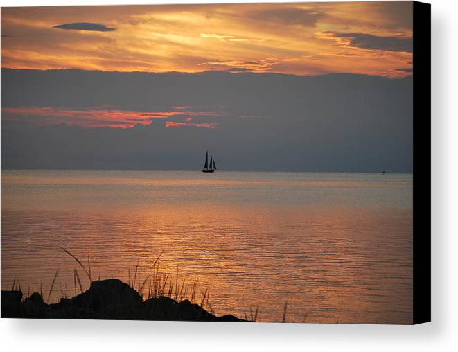 Sailboat Canvas Print featuring the photograph Sailboat On The Sound by Julie Strickland