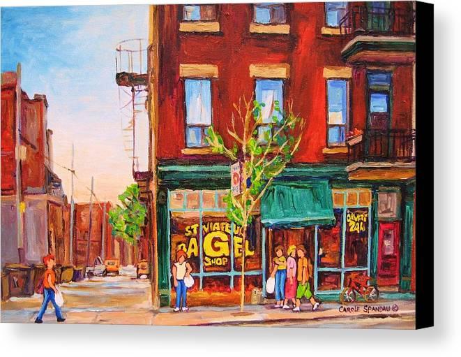 Montreal Canvas Print featuring the painting Saint Viateur Bagel by Carole Spandau