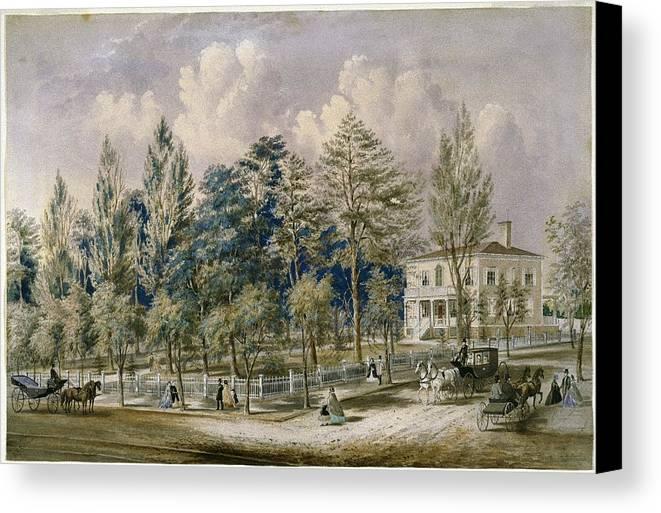 Frances Flora Palmer (american Canvas Print featuring the painting Samuel Fleet Homestead by Flora Palmer