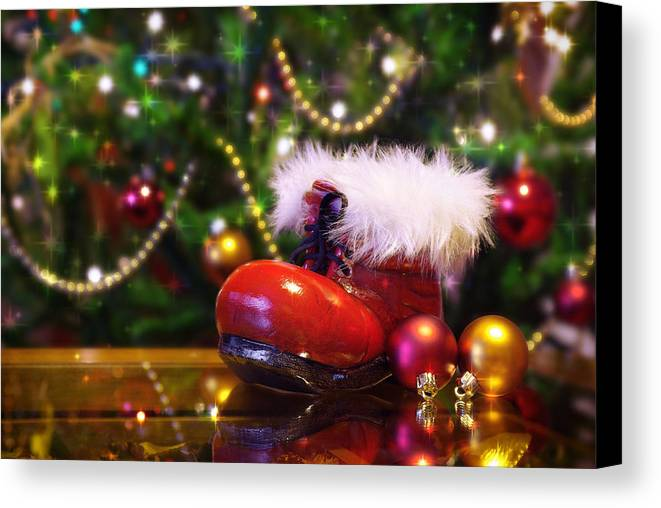 Background Canvas Print featuring the photograph Santa-claus Boot by Carlos Caetano
