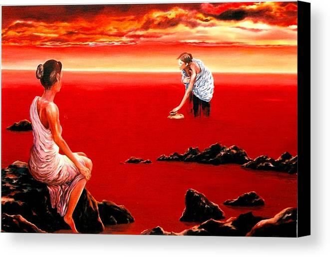 Red Canvas Print featuring the painting Scarlet Evening In December by Mark Cawood