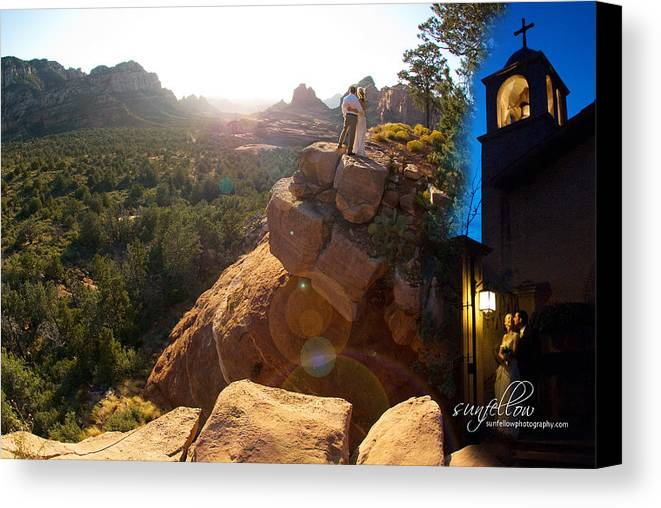 Wedding Canvas Print featuring the photograph Sedona Day And Night by David Sunfellow