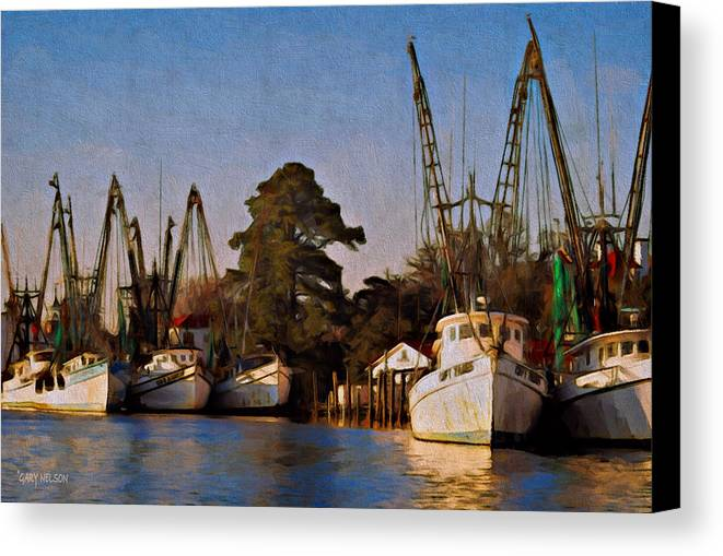 Ocean Canvas Print featuring the photograph Shrimp Boat Fleet Georgetown Sc by Gary Nelson
