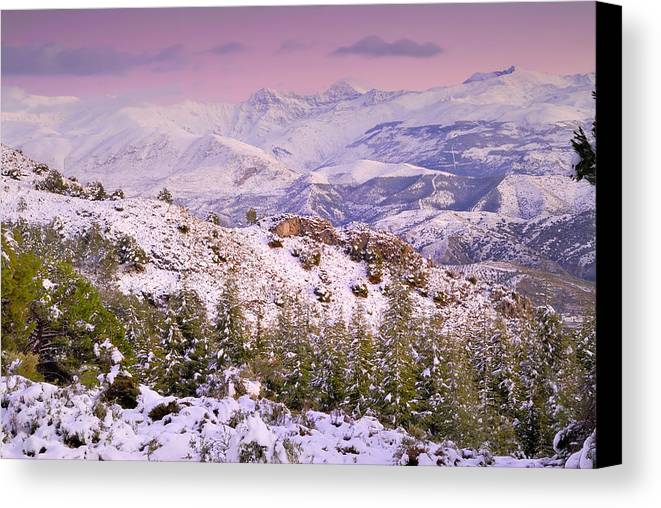 Sunset Canvas Print featuring the photograph Sierra Nevada At Sunset by Guido Montanes Castillo