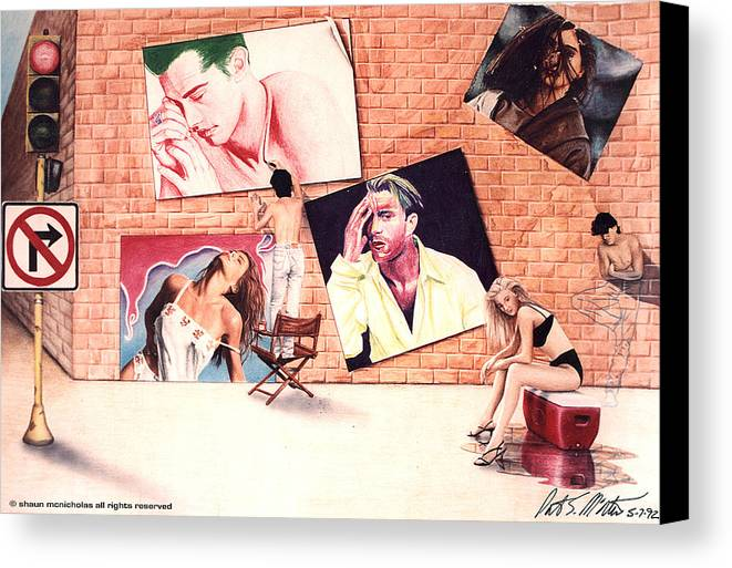 Self Portriat Canvas Print featuring the painting Signs A Self Portait by Shaun McNicholas