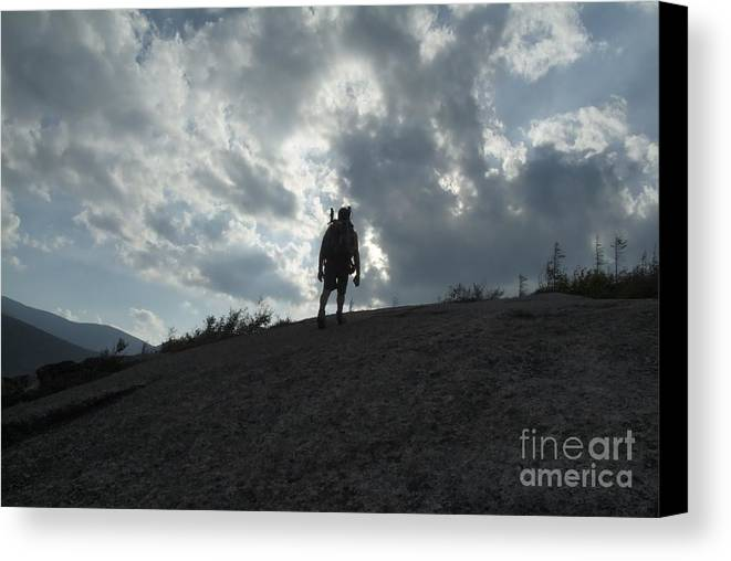 Silhouette Canvas Print featuring the photograph Silhouette Of A Hiker On Middle Sugarloaf Mountain - White Mountains New Hampshire Usa by Erin Paul Donovan