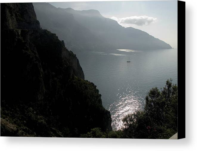 Amalfi Coast Canvas Print featuring the photograph Silhouetted Mountains And Sea by Charles Ridgway