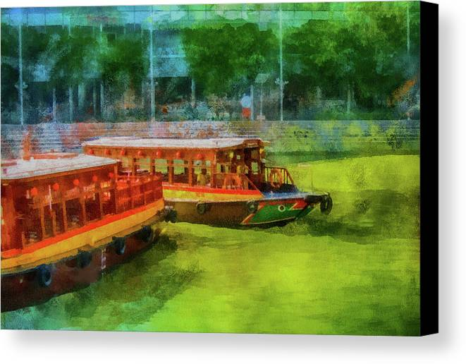 Boats Canvas Print featuring the mixed media Singapore River Boats by Joseph Hollingsworth